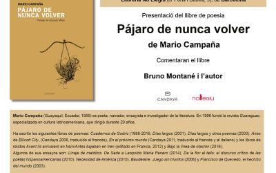Presentación del libro Pájaro de nunca volver (poema)